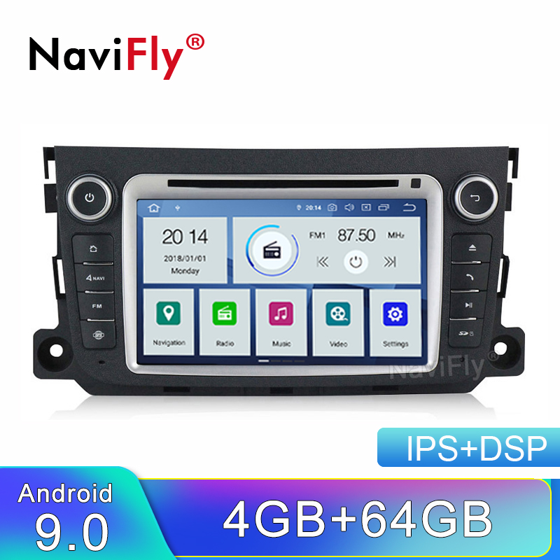 NaviFly IPS DSP Android 9 Car dvd player for Mercedes Benz Smart Fortwo 2012 2013 2014 <font><b>2</b></font> <font><b>Din</b></font> <font><b>Autoradio</b></font> <font><b>gps</b></font> navigation ADAS DVR image