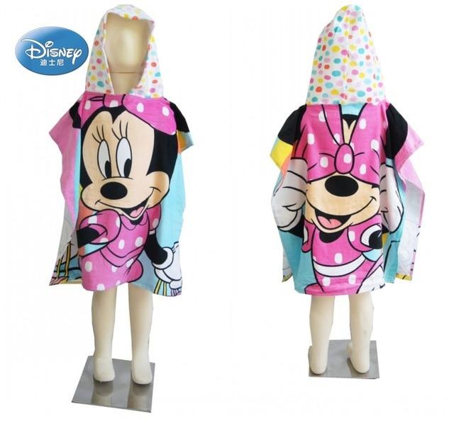 Disney Cartoon Mickey Minnie  Mouse Hooded Bath/Beach Towel Toddler Minnie Mickey Mouse Soft Towel Cloak for Boys Girls Swimming