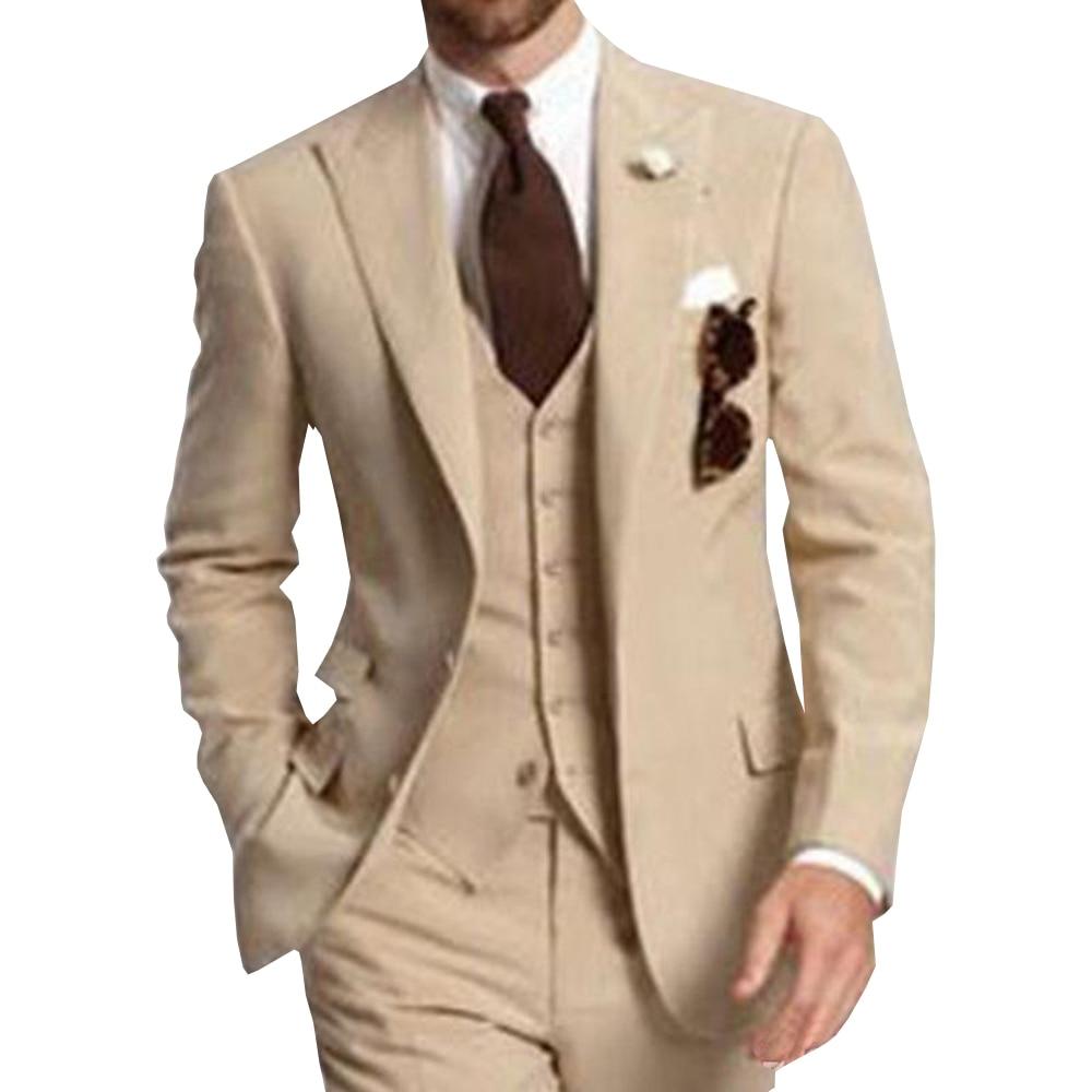 Men's Suit Formal Business Suits 3 Pieces Notch Lapel Solid Tuxedos Best Man For Wedding Groomsmen (Blazer+vest+Pants) Beige New
