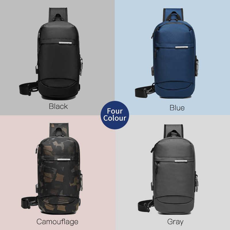 OZUKO Umhängetaschen für Männer Mode Messenger Sling Tasche Männlichen Wasserdichte Kurze Reise Brust Tasche USB Einzigen Schulter Strap-Pack