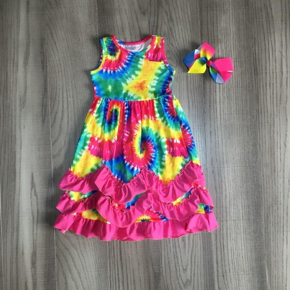 Baby Girls Summer Dress Girls Tie Dye Dress Girls Ankle-length Dress Children Long Dress With Bow