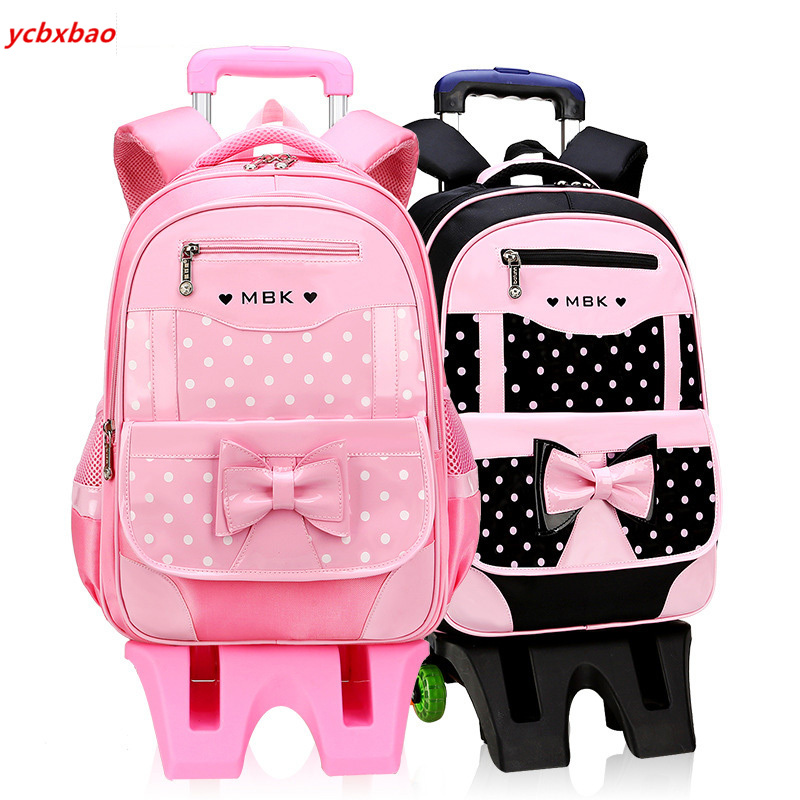 New Removable Children School Bags With 2/6 Wheels For Girls Trolley Backpack Kids Wheeled Bag Bookbag Travel Luggage Mochilas