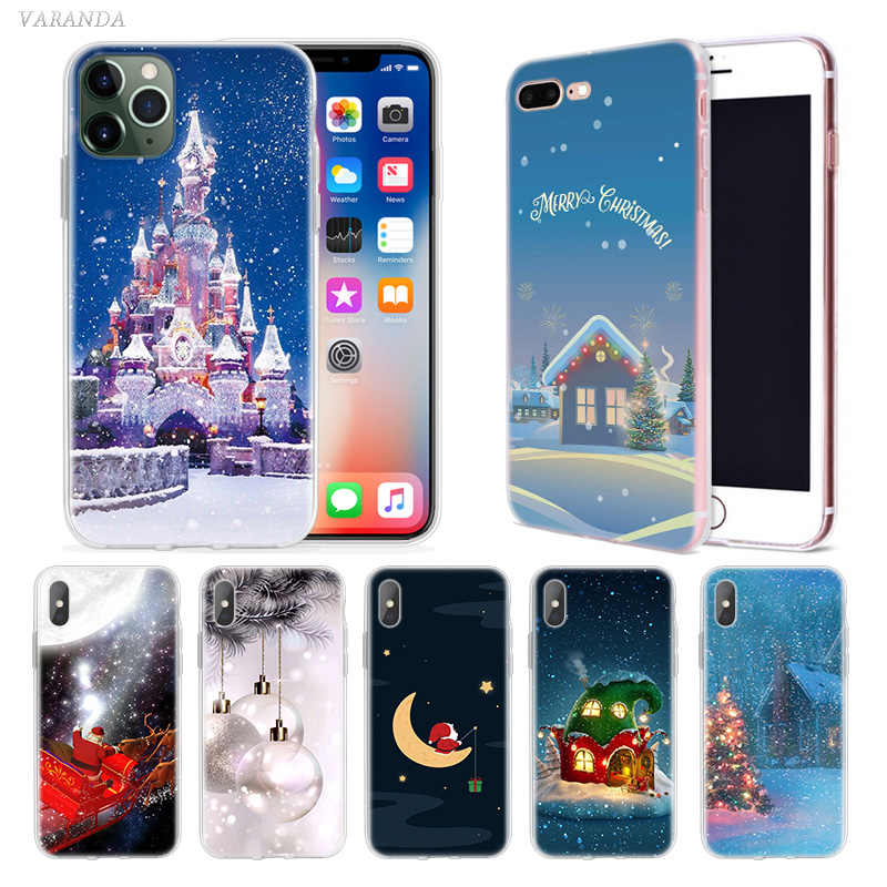 Christmas Cartoon Cute Case for Apple iphone 11 Pro XS Max XR X 7 8 6 6S Plus 5 5S SE 5C Silicone Phone Cover Coque Carcasa Bags