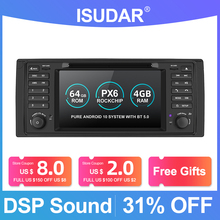 Isudar PX6 Android 10 Hexa Core 1 Din Auto Radio Voor Bmw 5 Serie E39 Canbus Auto Multimedia Video Dvd speler Gps Navigatie Dsp