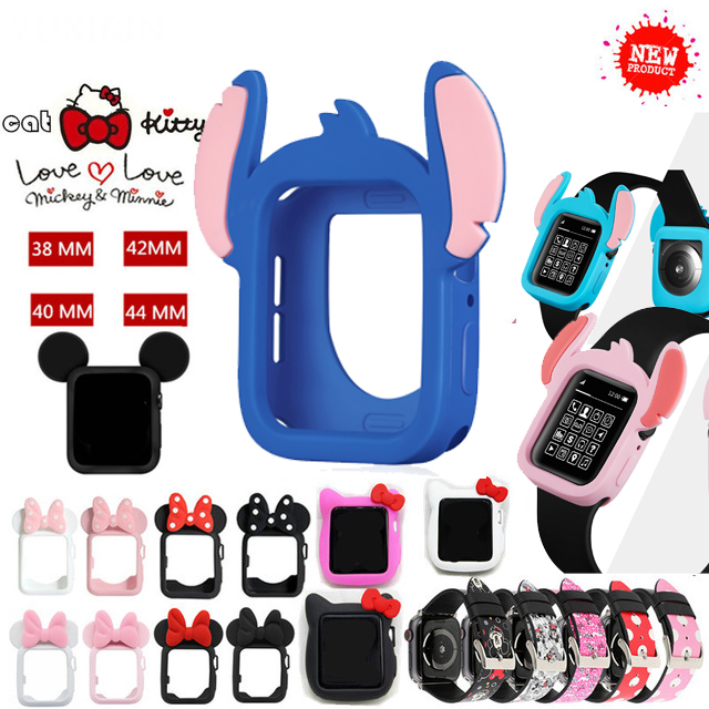 New Stitch Case Cover For IWatch Apple Watch Series 12345 44mm 40mm 38mm 42mm Mickey Mouse Minnie Cartoon Strap Watchbands