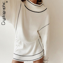 Cryptographic Knitted Dresses for Women Turtleneck Long Sleeve White Dress 2019 Winter Fashion Ladies Sweater Dresses Streetwear цены
