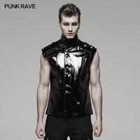 PUNK RAVE Men Punk Rock Leather Waistcoat Military Uniform Bright Leather Vest Rock Locomotive Party Punk Vest