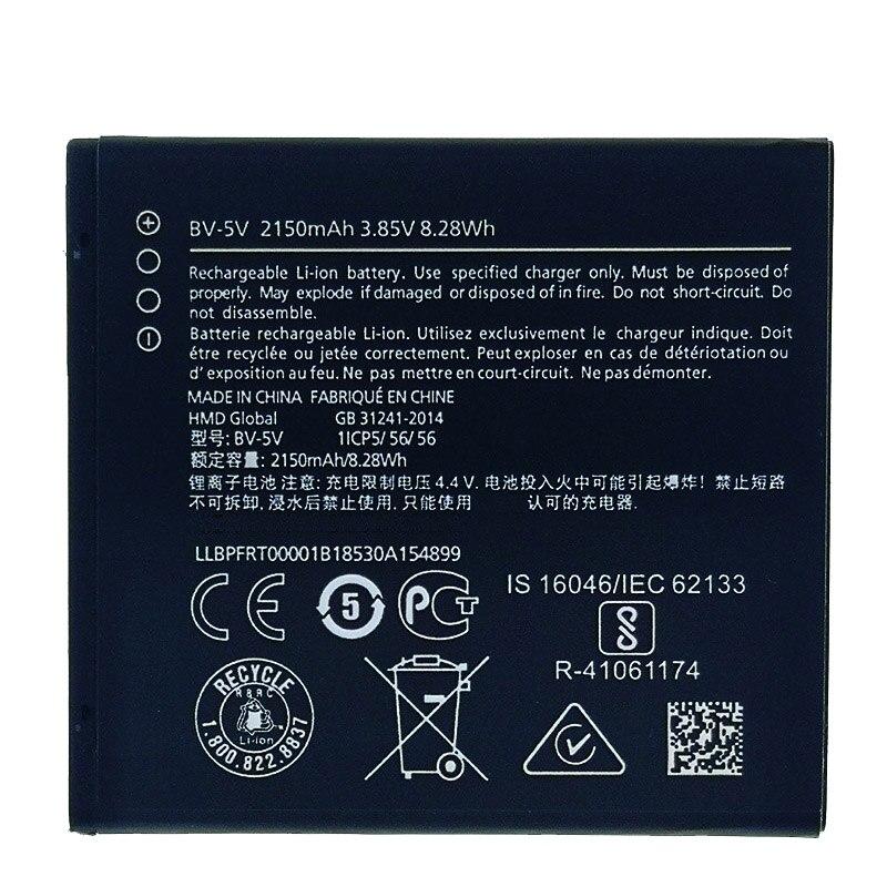 100% Original BV-5V 2150mAh Battery For Nokia 1 TA-1047 BV 5V bv5v Battery New produce High quality battery+Tracking number(China)