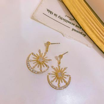Modne geometryczne z kryształkami kobiety Dangle kolczyki Solar Moon kryształowe kolczyki dla kobiet kolczyki wiszące czeskie kolczyki tanie i dobre opinie DINGABIYU Aluminium TRENDY Moda Spadek kolczyki
