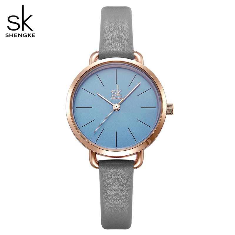 Shengke Leather Women Watch Ladies Grey Thin Band Strap Green Simple Dial Women Quartz Watches With Gift Box Reloj  Mujer
