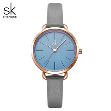 Shengke Leather Women Watch Ladies Grey Thin Band Strap Gree