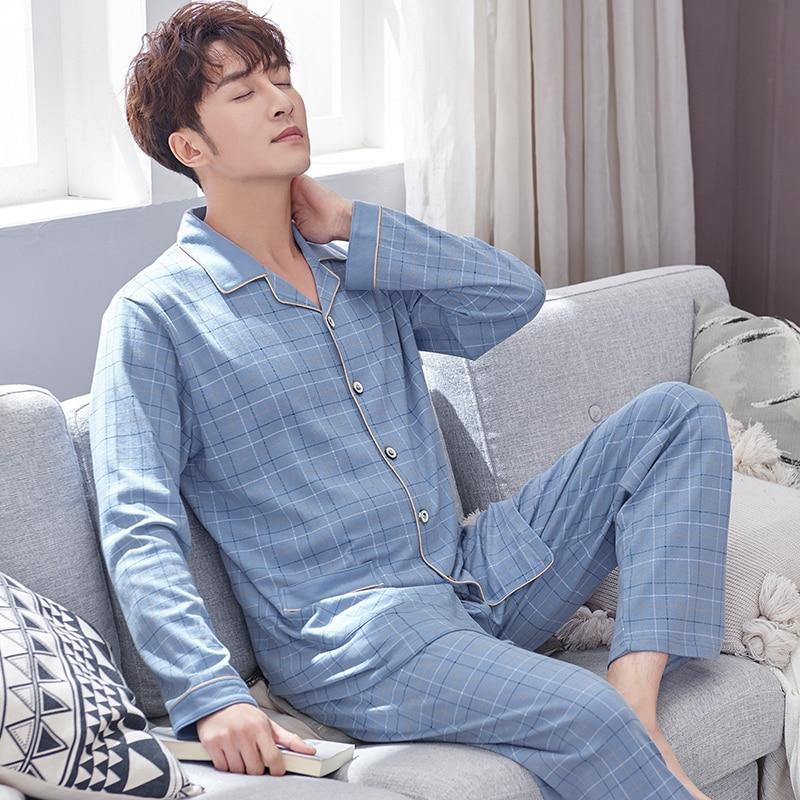 Spring Cotton Pajams Men Long Sleeves Button-Down Pijamas Set 2PCS Male Cotton Plaid Nightwear PJs Set Blue Pyjama Suits Men