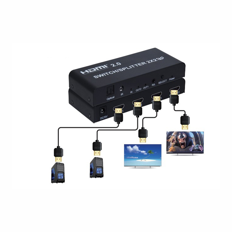 2.0 HDMI Matrix 2x2 4K @ 60Hz HDR Switch Splitter 2 in 2 out Optical SPDIF + 3.5mm jack Audio Extractor HD Switcher