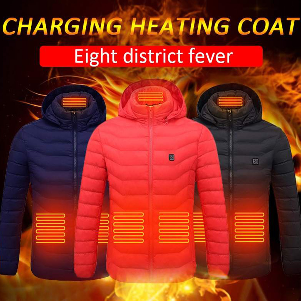 8 Areas Heating Vest Thermal vest Electric Down Cotton USB Rechargeable Winter Heated Hooded Long Sleeve Warm Hunting Vest
