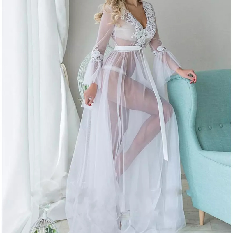 Sexy Women Lingerie Lace Deep V Neck See Through Sleepwear Babydoll See Through Ladies Floral Long Dress