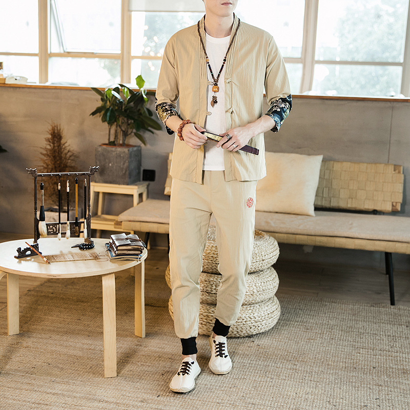 2019 Summer Ethnic-Style Flax Short Sleeve Set Men's Chinese-style Frog Mixed Colors Cotton Linen Capri Pants Two-Piece Set