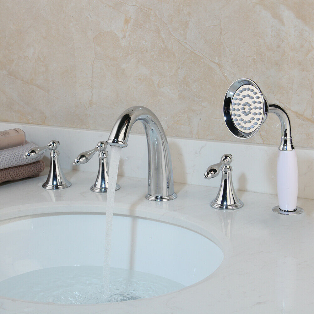 Bathtub Faucets Mixer Bath Tub Deck Mounted 5 Hole Hot Colder Widespread Tub Mixer Tap with Hand Shower Chrome Finished