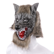 PTYGO New Creepy Latex Cosplay Halloween Wolf Head Mask Animal Party Costume Theater Prop Drop Shipping halloween ufo mask creepy latex ufo alien head mask for adults masquerade costume party cosplay