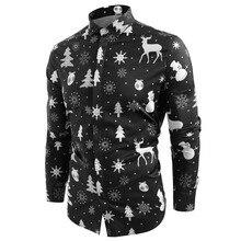 Funnyshirt с принтом, с длинным рукавом, на пуговицах, Мужская одежда, повседневная, снежинки, Рождественская, Печать оленей, рубашка, новогодние, вечерние, блузки