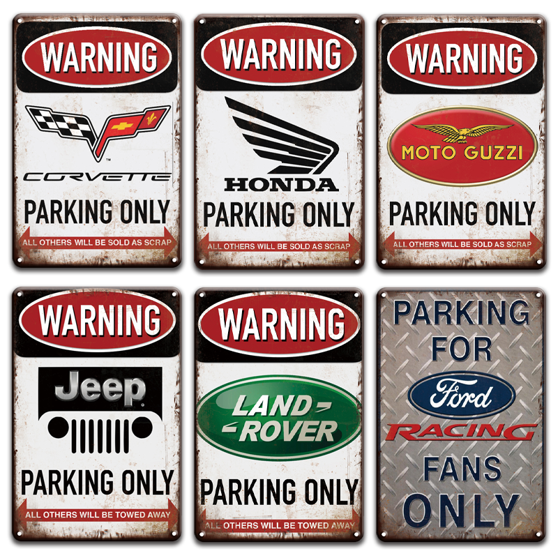 Warning Land Rover Ford Jeep Parking Only Metal Tin Signs Vintage Garage Decor Retro Parking Metal Poster Hanging Decoration|Plaques & Signs| |  - title=