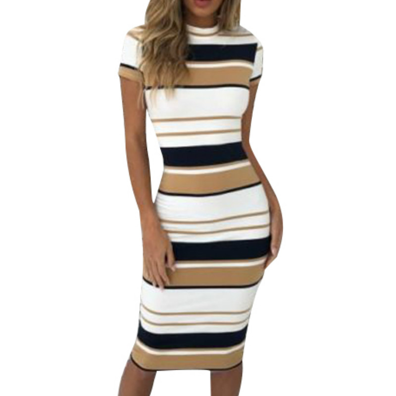 Women Summer Stripe Bodycon Dress Vestidos Short Sleeve Ladies Knee Length Dress Plain Jersey Stretch Basic Dress
