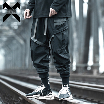 11 BYBB'S DARK Cargo Pants Streetwear Fashion Men Black Joggers Tactics Casual Pencil Pant Trousers Male Pocket Ribbon BB63 image