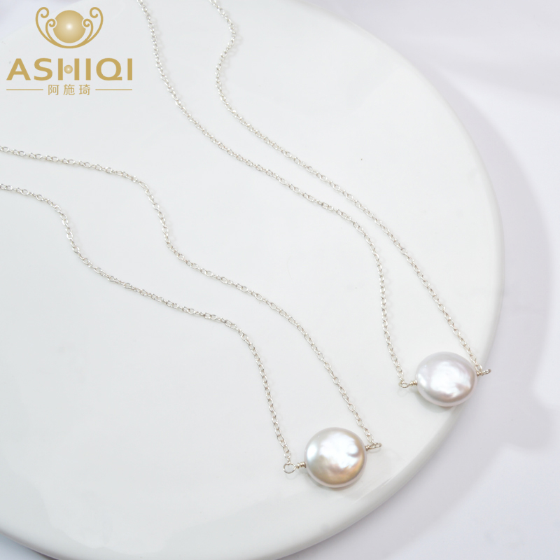 ASHIQI  Natural Freshwater Pearl 925 Sterling Silver Necklace 12-13mm Button Shape Pearl Jewelry For Women