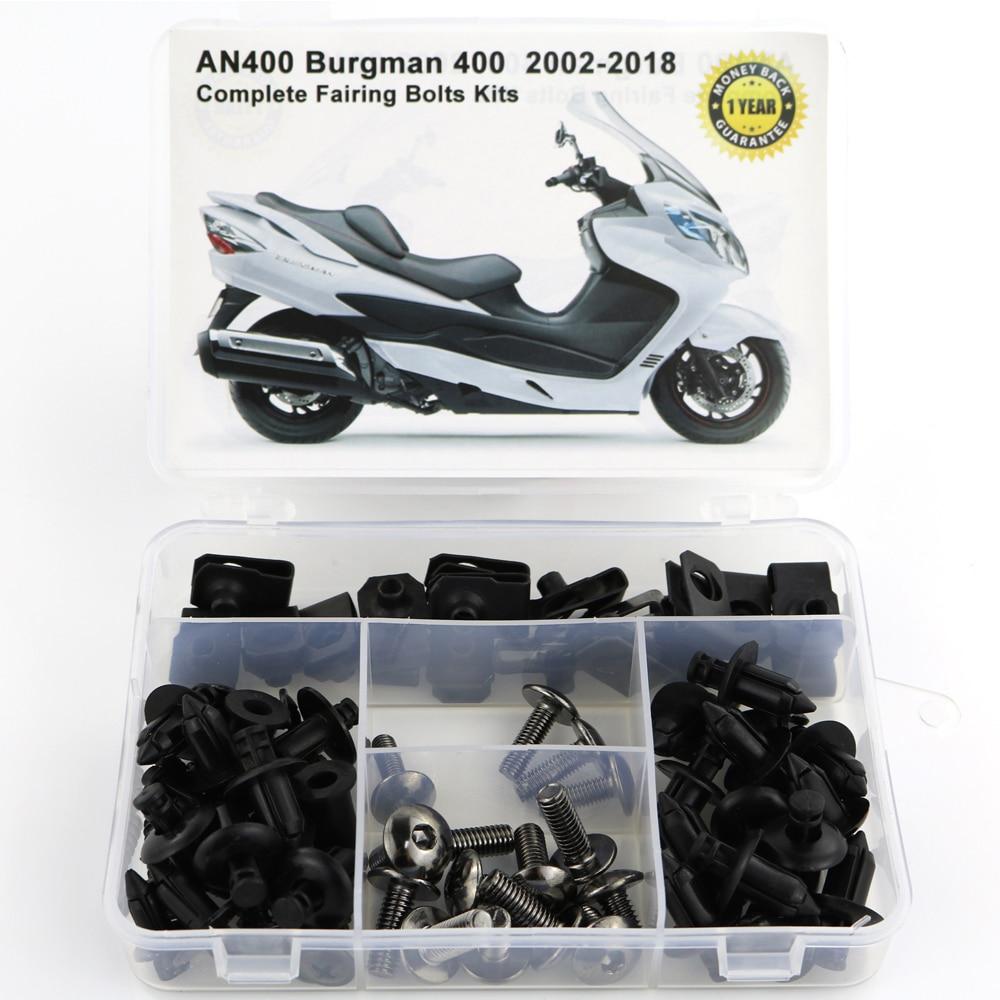 Для Suzuki AN400 Burgman 400 2002- мотоцикл Полный Обтекатель Болты комплект обтекателей зажимы гайки OEM стиль корпуса Винты сталь - Цвет: Titanium