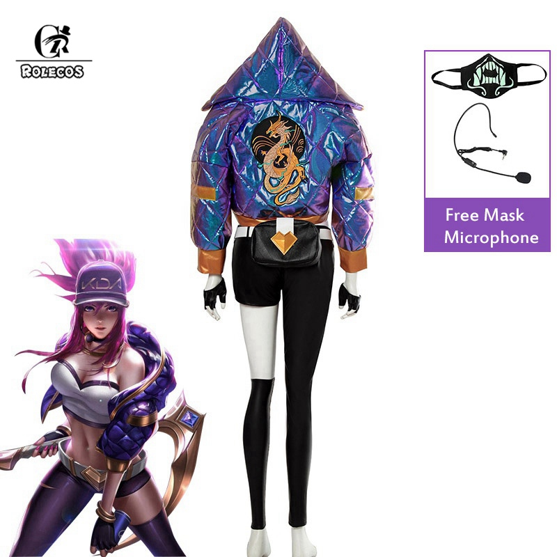 ROLECOS KDA Akali Cosplay Costume LOL KDA Cosplay Game Costume Akali Mask Microphone Women Outfit Winter Coat Halloween Costume