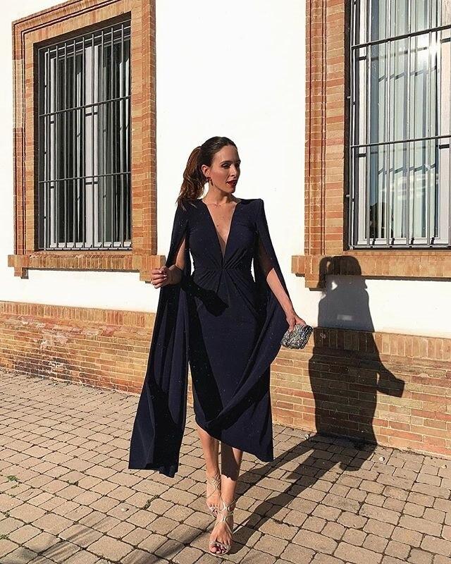 Linglewei New Spring and Summer Women's Dress fashionable sexy V-Neck long sleeve pencil dress Medium dress