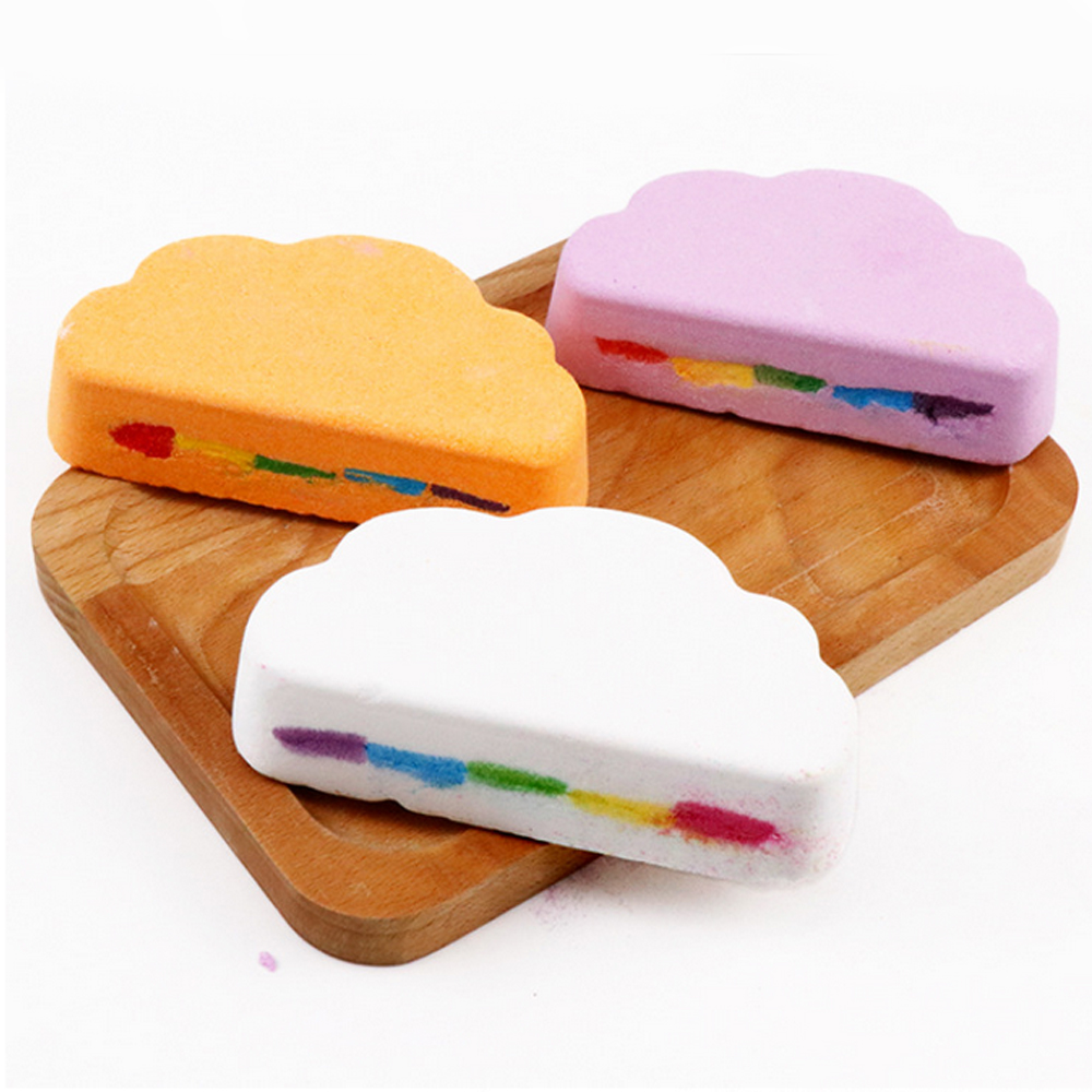 110g Rainbow Cloud Natural SPA Bath Salt Essential Oil Bomb For Moisturizes Dry Skin Bubble Massage SPA Handmade Bath Salt Bomb