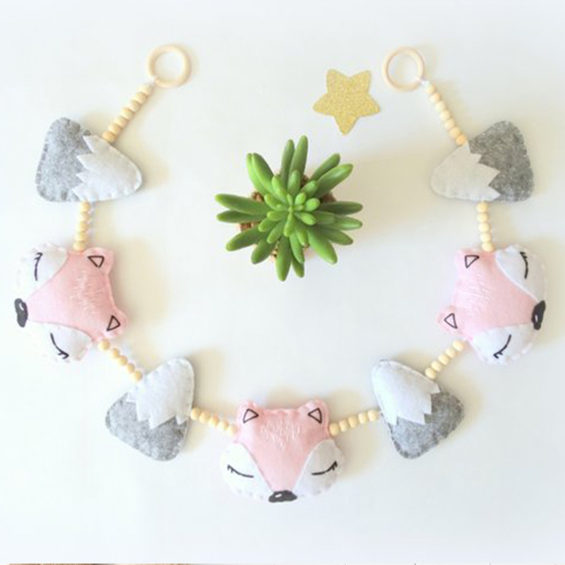 1PC Baby Toys Nordic Cartoon Fox Baby Rattles Children Room Hanging Decor Photography Prop Soft Rattle Mobile Stroller Accessory