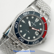 Bliger 40mm blue dial mens automatic watch date indicator sapphire glass Luminous Waterproof Wristwatch Men