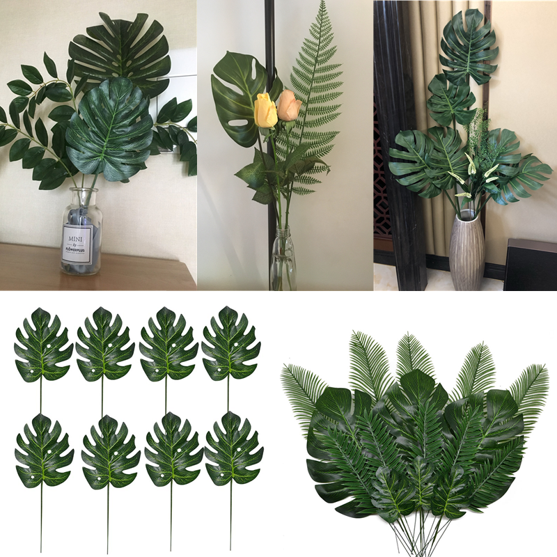 10-20 Pcs Artificial Plants Tropical Monstera Palm Leaves Simulation Leaf For Hawaiian Theme Party Decor Home Garden Fake Leaves