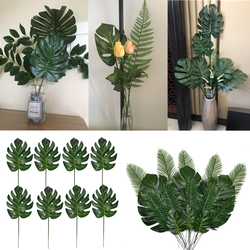 10/20 Pcs Artificial Plants Tropical Monstera Palm Leaves Simulation Leaf For Hawaiian Theme Party Decor Home Garden Fake Leaves
