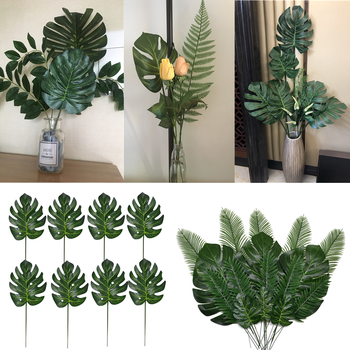 10/20 Pcs Artificial Plants Tropical Monstera Palm Leaves Simulation Leaf For Hawaiian Theme Party Decor Home Garden Fake Leaves artificial tropical palm leaves monstera leaves 7 leaves bouquet 70cm simulated green plant leaf for indoor home decoration