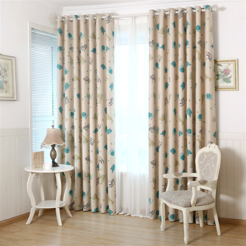 Cartoon Style Printed Curtains For Children Blackout Cloth Nursery Sheer Tulle Curtains Cotton Kids Blinds Bedroom