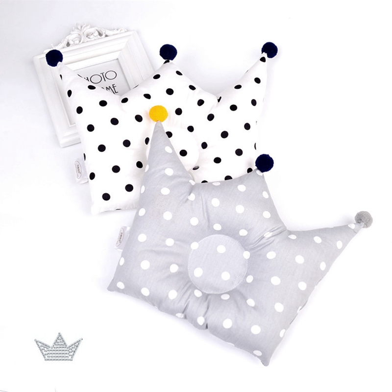 Newborn Baby Nordic INS Shaping Pillow Cute Crown Shape Backrest Cushion 0-1 Years Old Anti-head Correction Pillow Baby Bedding