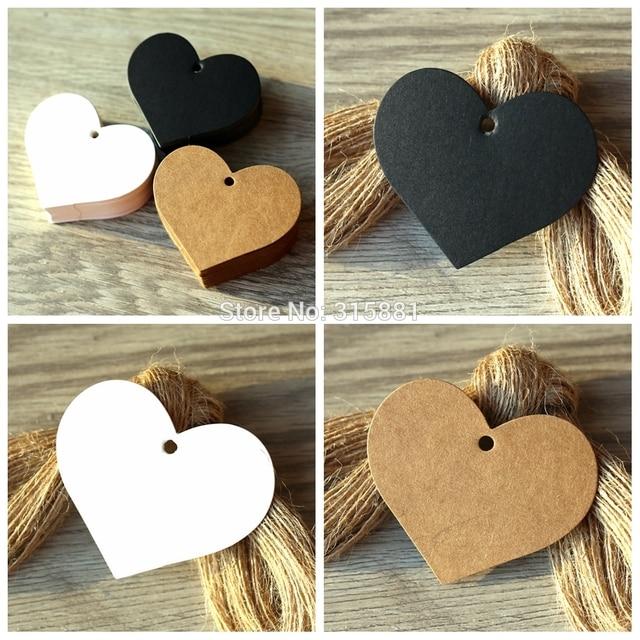 En forma de corazón blanco negro marrón etiquetas de papel Kraft jardinería etiquetas boda nota en blanco manualidad para regalo etiqueta 6,5*5 cm 100 unids/lote