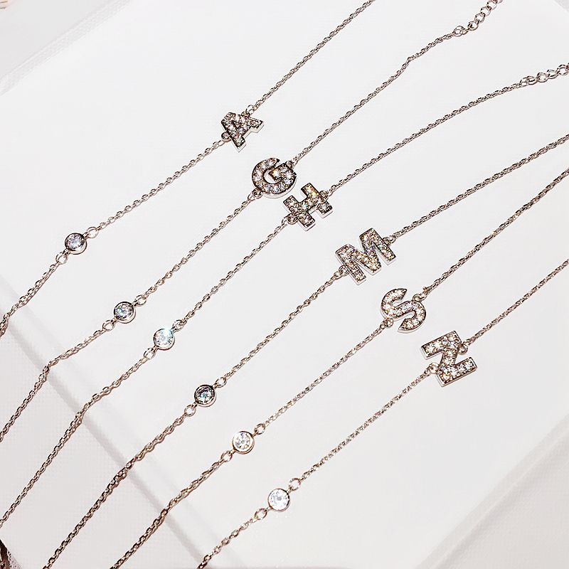 Bracelet-Chain Crystal Jewelry Cubic-Zircon Delicate Women for CZ 26-Letter Micro-Paved