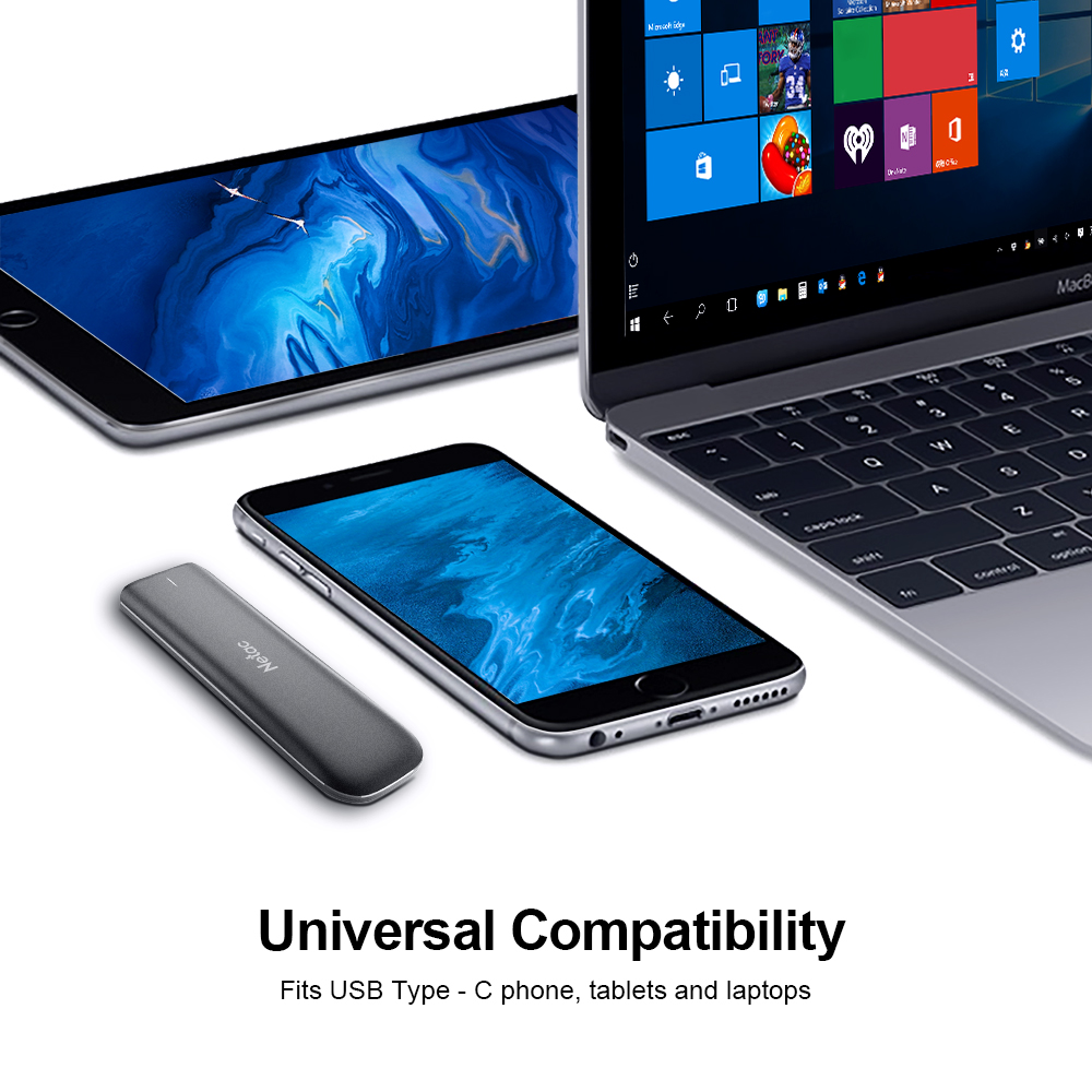 Portable Solid State Drive up to 980 MB//s Read External Storage Compatible for Mac 10 Gbps, Type-C Tablet Netac ZX External SSD 250GB Android Phones Black USB 3.2 Gen 2 Latop Desktop
