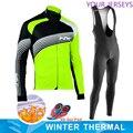 2020 Fluorescent vert vélo équipe veste 9D vélo pantalon costume Maillot vêtements pour hommes hiver polaire Pro vélo Jersey