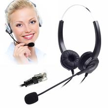Corded Binaural Telephone Headset, Hands-Free Noise Cancelling 4-Pin RJ9 Telephone Headset for Call Center and Telemarketing(China)