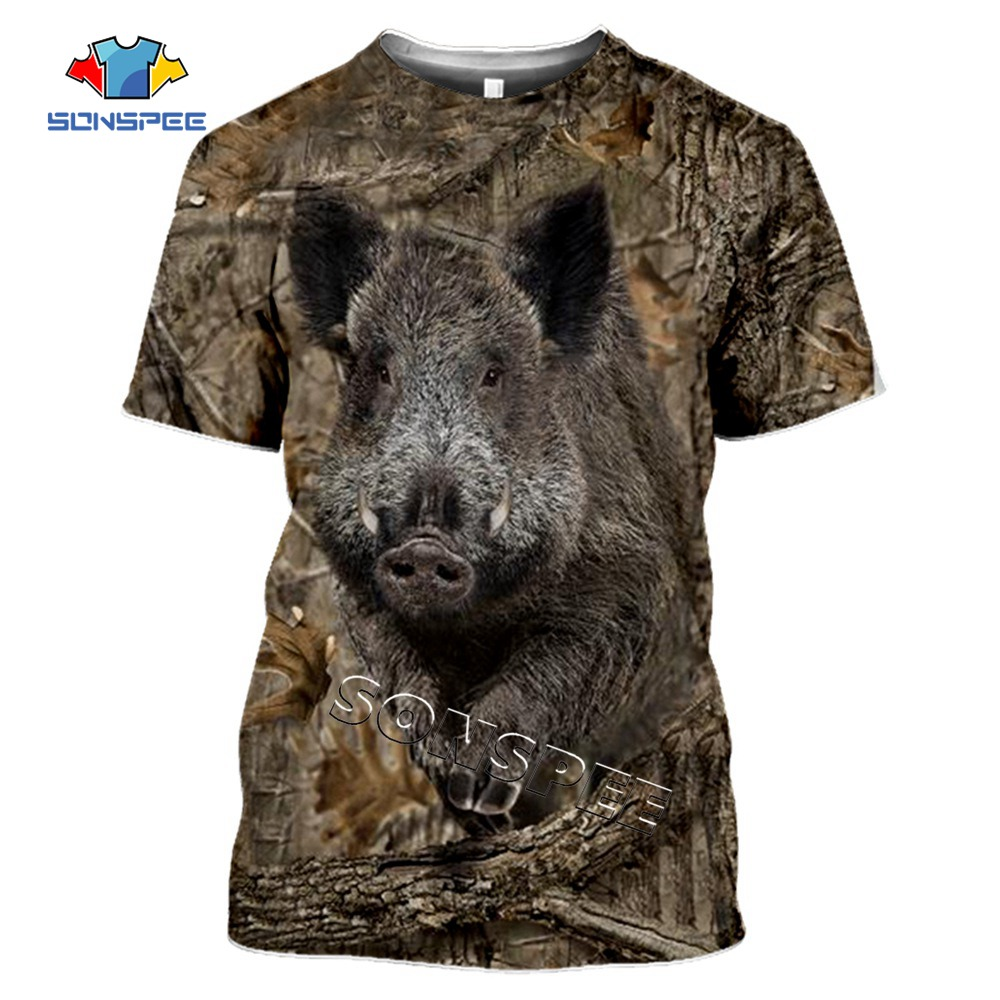SONSPEE Camo Hunting Animals Wild Boar 3D T-shirt Summer Casual Men T Shirts Fashion Streetwear Women Pullover Short Sleeve Tops