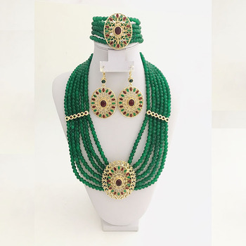 Dubai Hand-beaded set fashion earrings Bracelet Necklace  chain Crystal Hand-beaded Multi-layered necklace Moroccan Algerian wed 1