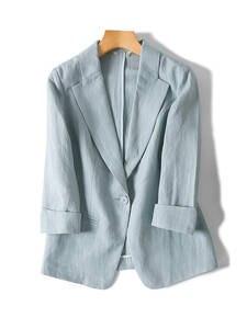Linen Blazers Out-Wear Single-Button Office Lady Winter Women NEW Solid Fall 3/4-Sleeved