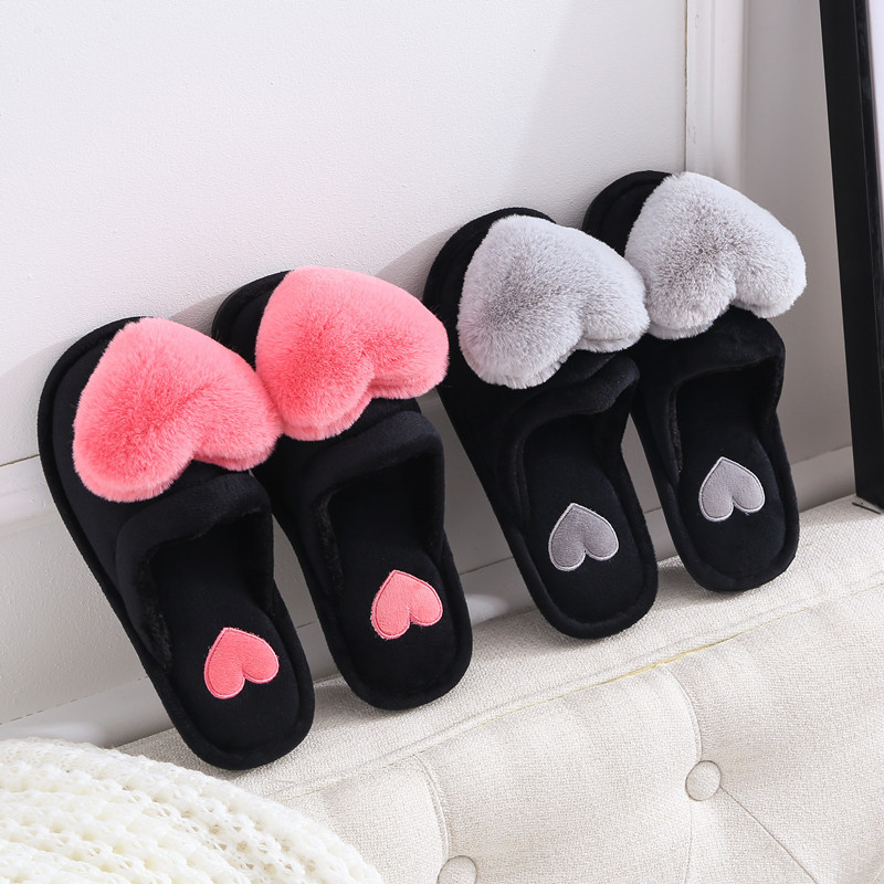 Women Slippers Winter Home Shoes Women House Slippers Warm Love Heart Non-Slip Floor Home Furry Slippers Fashion Fur Slides