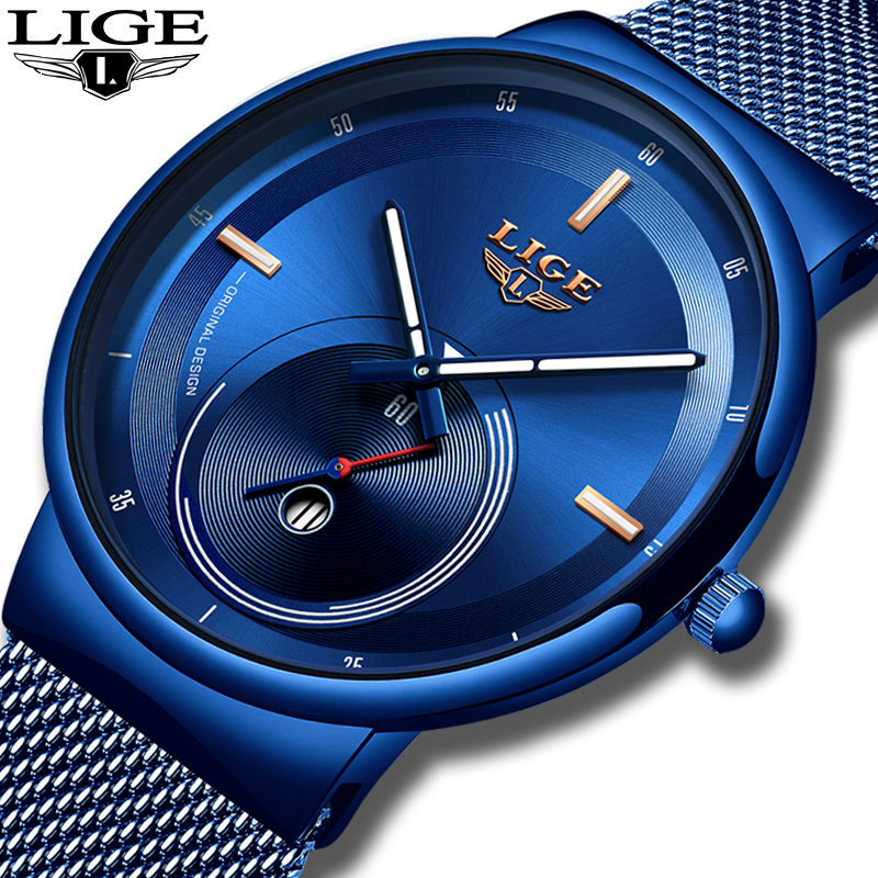 2019 New Original Design Blue Quartz Clock LIGE Mens Watches Top Brand Luxury Watch Men Simple All Steel Waterproof Wrist Watch