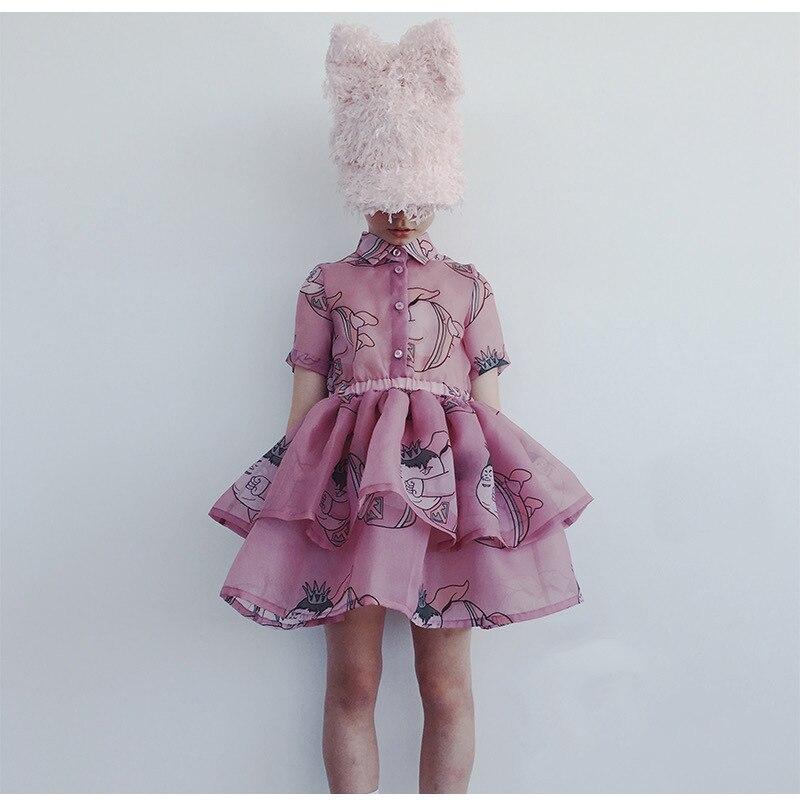 Girls Clothing Sets 2021 Summer Caroline Baby Flower T-shirt Cartoon Tutu Skirts Caps Girl Dress Party Suits Children Clothes 5