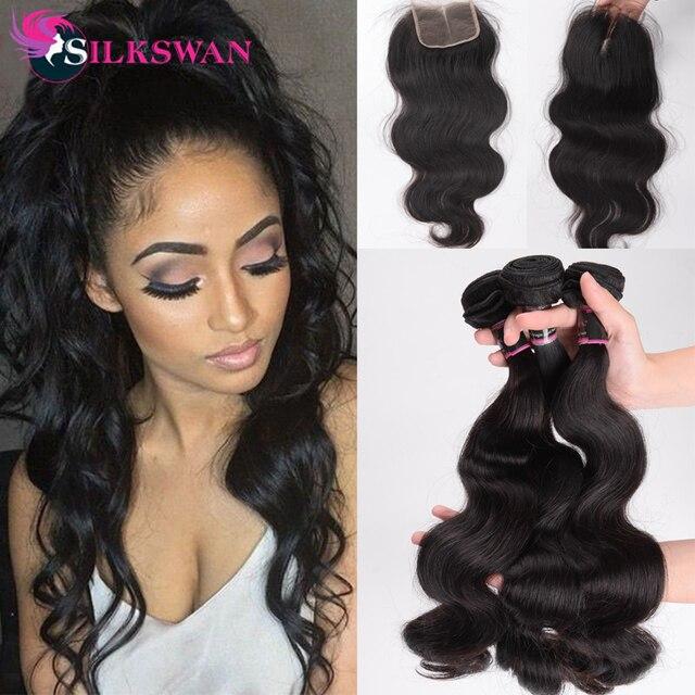 Mechones de extensiones de cabello humano Silkswan con cierre de cuerpo ondulado 4*4 cierre superior cabello Remy brasileño tejido de pelo con trama Doble